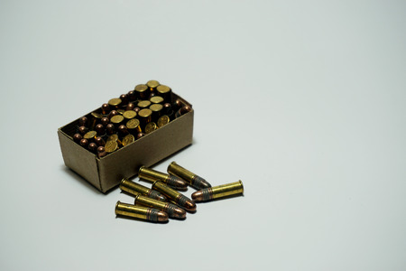 shootings: Bullets .22 mm isolated on white background Stock Photo