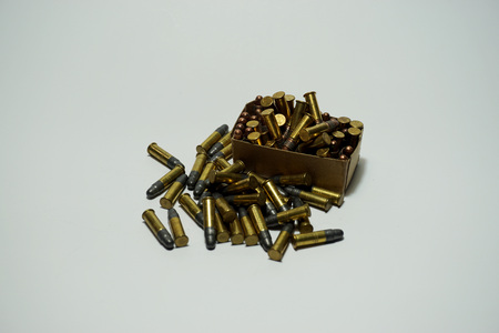 shootings: Many Bullets .22 mm on white background Stock Photo