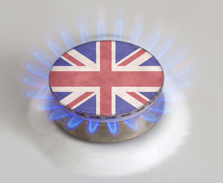 Gas burner with the flag of Great Britain. Gas of Great Britain