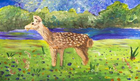 Childrens figure spotted deer on the nature Stock Photo