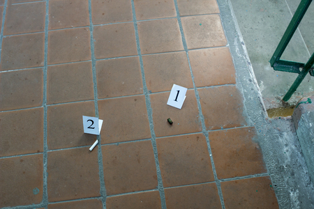 Stub and cartridge case from the cartridge on the landing, evidence and investigation, background of tiles