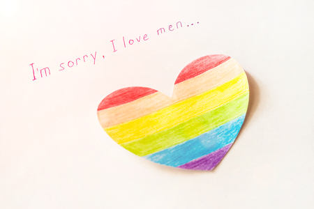 Inscription on white background I'm sorry I love women, heart in the form of a flag LGBT, lesbian and Foto de archivo - 108097594