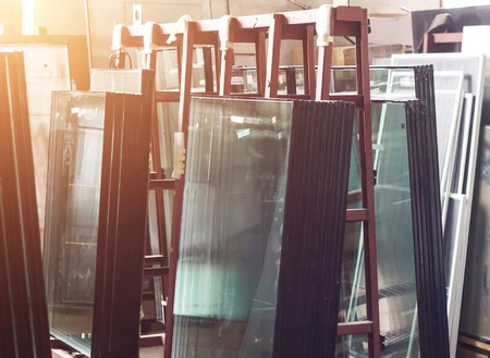 Production of pvc windows, ready-made double-glazed windows for assembly in a plastic pvc frame, assembly Stock fotó