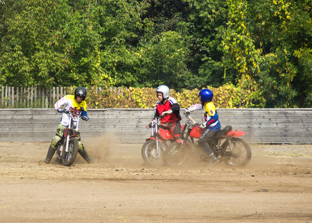 BOBRUISK, BELARUS - September 8, 2018: Motoball, young guys play motorcycles in motoball competitions ball