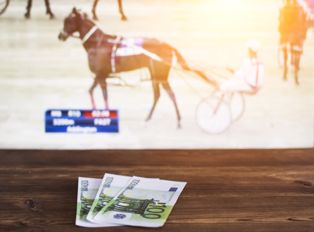 Euro money on the background of a TV on which the sport of trotting shows, sports betting, trotting 免版税图像