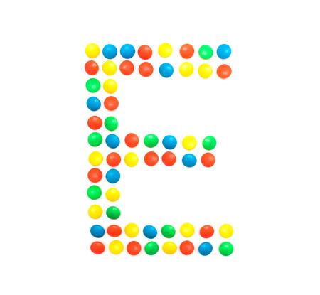 Multicolored alphabet from children's mosaic letter E, ABC