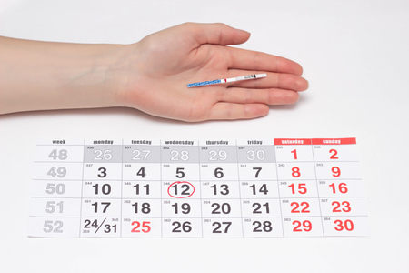 A girl holds a hand with a negative rate of pregnancy test on the background of the calendar, the day of ovulation, infertility, menstruation 스톡 콘텐츠