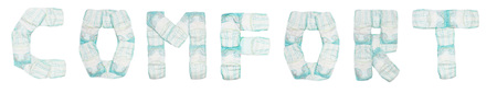 Word comfort laid out baby diapers on a white background, isolate, napkin, inscription, napkin