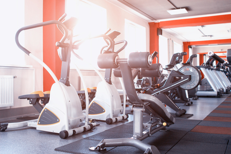 New modern gym with exercise equipment for weight loss and the development of endurance, treadmills, equipment Stockfoto