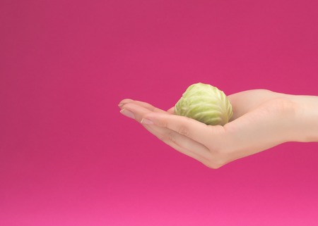 female hand holds brussels sprouts babe on a pink background, the concept of proper nutrition and health, dietology, isolat, copy space, vitamin deficiency Banco de Imagens