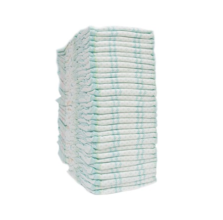 A large stack of baby hygienic diapers that protect against leakage, cleanliness and absorption, hypoallergenicity, isolate