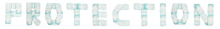 Word protection laid out baby diapers on a white background, isolate, napkin, inscription, napkin