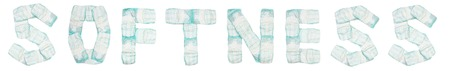 Word softness laid out baby diapers on a white background, isolate, napkin, inscription, napkin Banco de Imagens