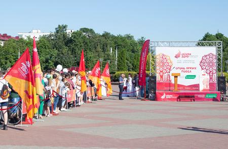 Bobruisk Belarus 06 03 2019 : Préparation sur la place centrale pour allumer le feu des jeux européens de 2019, traditionnel Éditoriale