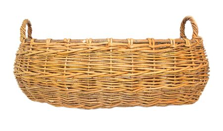 Large two-hand wicker basket made of wicker on a white background, isolate, traditional Stock fotó