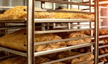 Preparation from puff pastry pastries for cake. Big cake at the pastry production, bakery products, biscuit
