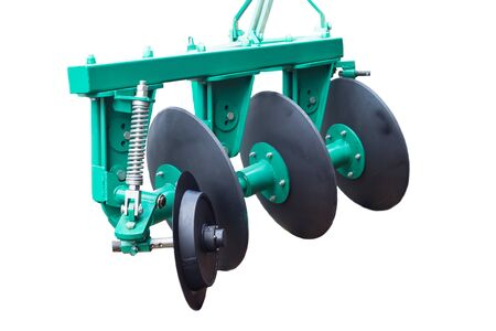 Agricultural equipment cultivator with cutters for processing soil on a white background, isolate, agricultural machinery