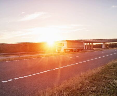 A trucker driver transports cargo on a white wagon against the background of a road bridge and a sunset. Shipping, business and logistics, copy space Reklamní fotografie