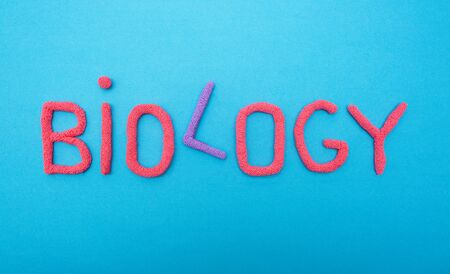 Inscription biology in red letters on a blue background, evolution science concept, organism