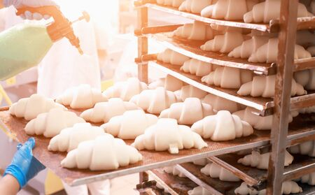 Making croissant baking from puff pastry for confectionery production, food industry Reklamní fotografie