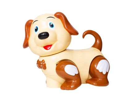 Children's plastic toy dog on a white background, animal