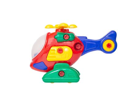 multicolored children s helicopter on a white background, isolate, transportation, military