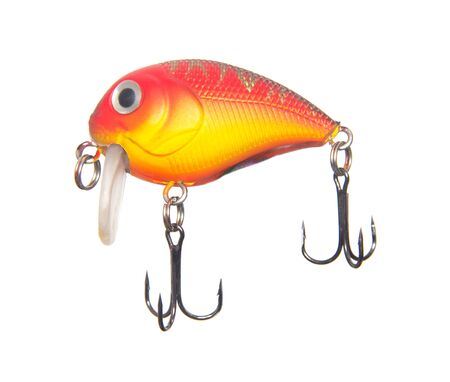 Fishing bait tackle and baubles for fishing on a white background, ISOLATE, wobbler, fishing tackle