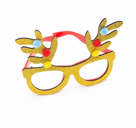 New Years stylish glasses in the form of deer horns. Decorations for the New Year holiday, isolate
