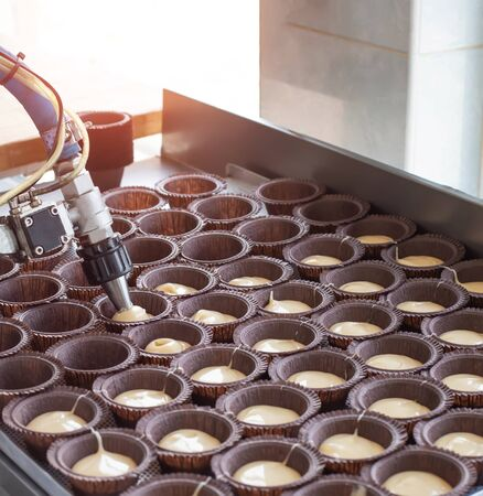 Making chocolate muffins in the confectionery industry. Delicious pastry for dessert, copy space, food, handwork