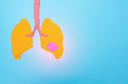 Human lungs on a blue background with a stain. Human lung disease concept, lung cancer, pneumonia, copy space, metastases