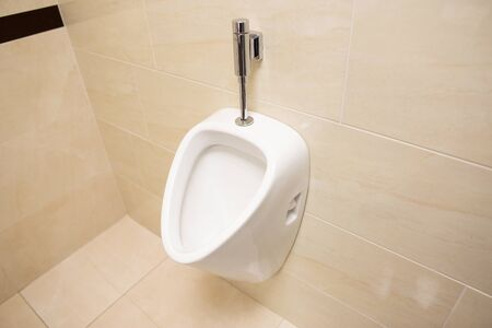 Modern stylish male urinal on the wall. Beautiful brown ceramic tile, copy space, urinate