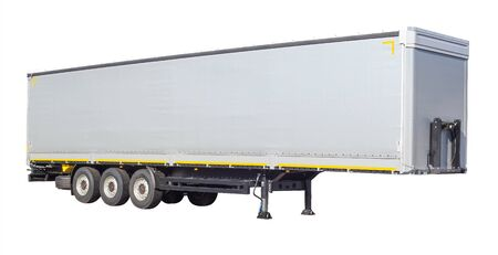Long semi-trailer for a truck wagon on a white background, isolate, transportation