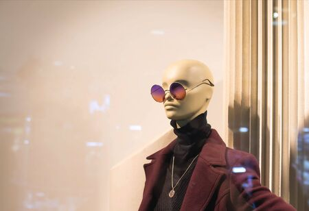 Fashionable and stylish mannequin in modern glasses and warm business clothes. The concept of selling quality and stylish clothes