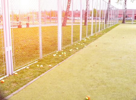 large tennis court with green grass and colorful balls. Sports and tennis concept, background, copy space, lifestyle Stock Photo - 135491201
