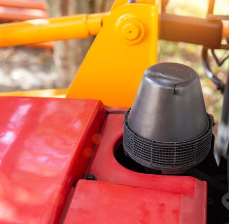Tractor construction machinery air filter, closeup, industry, background Stock Photo