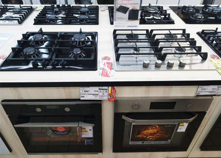 Bobruisk Belarus 19.09.2019: Sale in a household appliance store of gas stoves and cooker hoods