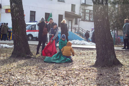 BOBRUISK, BELARUS 10.03.2019: Urban traditional festivities for Carnival Children have fun in competitions