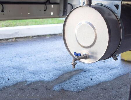 Washbasin mounted on a truck trailer, concept of cleanliness and hygiene on the road