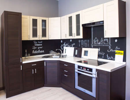 MINSK, BELARUS 17.10.2019: Sale of stylish and modern kitchens to order, modular, straight and corner kitchens house