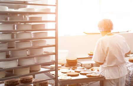Confectioner makes cakes and pies in the confectionery industry, sunlight, cake blank, confectionary shop