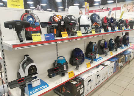 Bobruisk Belarus 19.09.2019: Sale of modern vacuum cleaners in a household appliance store