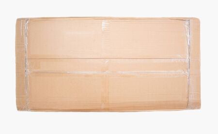 cardboard box in which new furniture is packed on a white background, isolate, commode 版權商用圖片