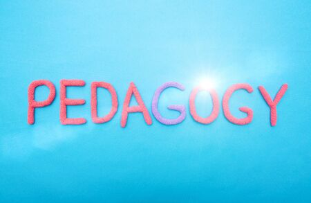 The word pedagogy in red letters on a blue background. Learning and Education Science Concept, discipline Standard-Bild
