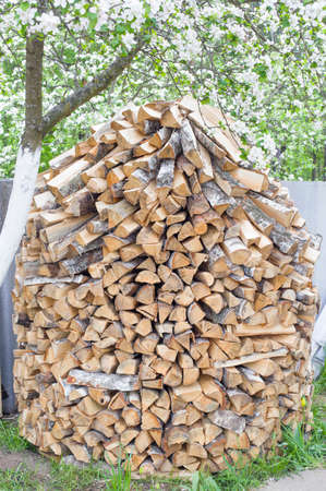 Stack of chopped firewood in the country Standard-Bild
