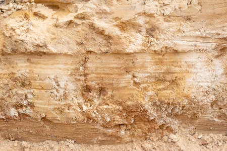Layers of clay and orange sand soil, background, geological, mineral