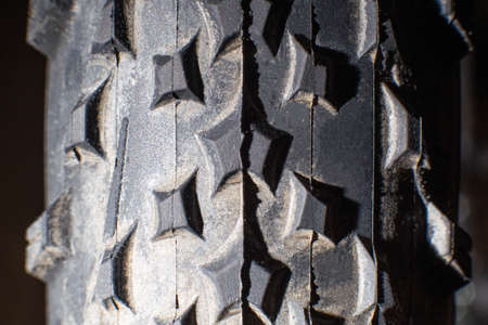 tread on a bicycle off-road tire, background