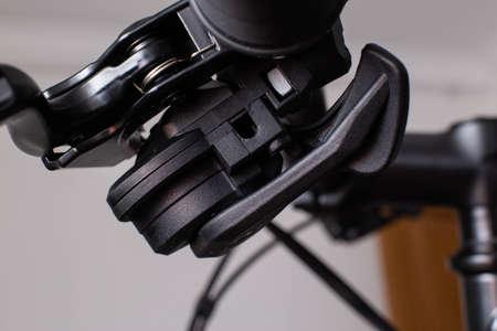 Modern handlebar derailleur on a bicycle Standard-Bild