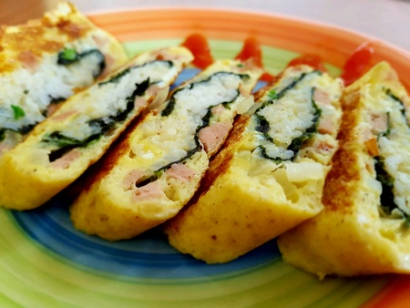 omelet: Korean Omelet Roll. Stock Photo
