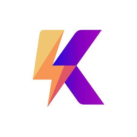 Letter K Lightning Vector Logo Design Template Logo