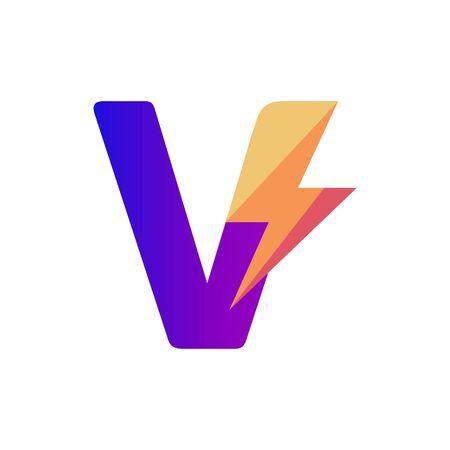Letter V Lightning Vector Logo Design Template
